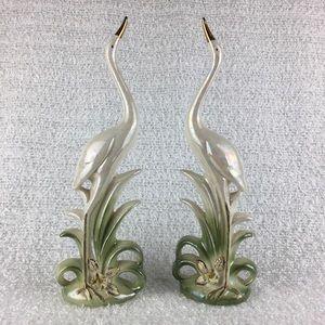 Vintage Norcrest Golden Dogwood ceramic cranes